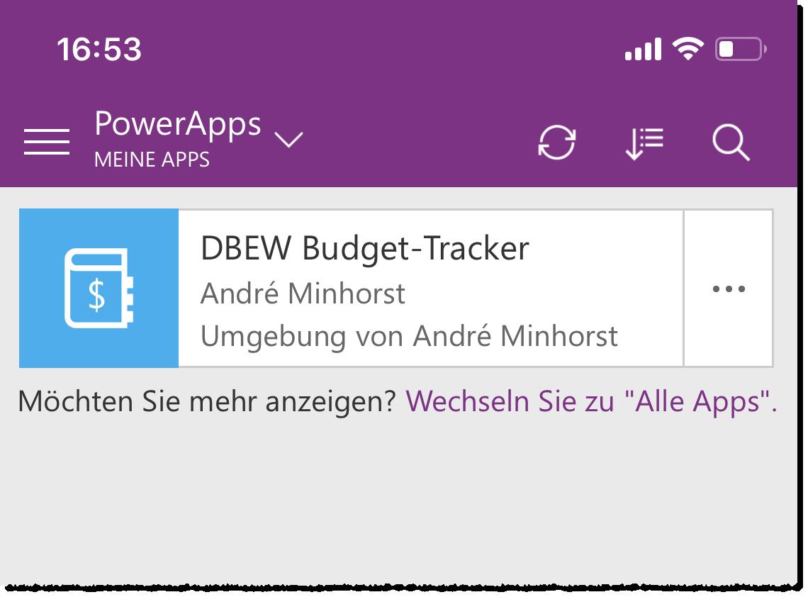 Anzeige der soeben erstellen App
