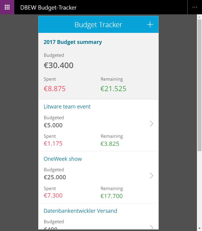 Testen des Budget-Trackers im Browser-Fenster