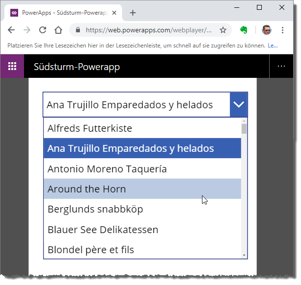 Testen der App im Webplayer