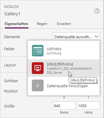 Einstellen des der Datenquelle für den Katalog zur Bildanzeige