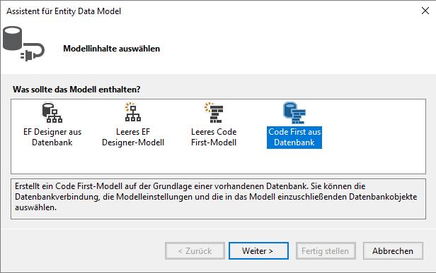 Auswahl des Typs Code First aus Datenbank