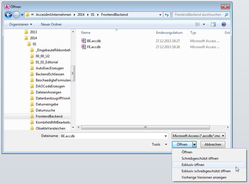 Öffnen einer Datenbank-Datei im Exklusiv-Modus