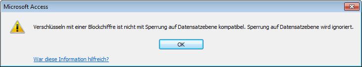 Keine Kompatibilität mit Sperrung auf Datensatzebene