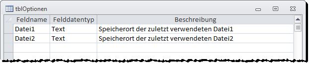 Optionentabelle zum Speichern der zuletzt verwendeten Dateien