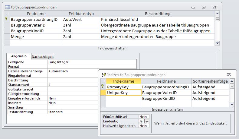 Entwurf der Tabelle tblBaugruppenzuordnungen