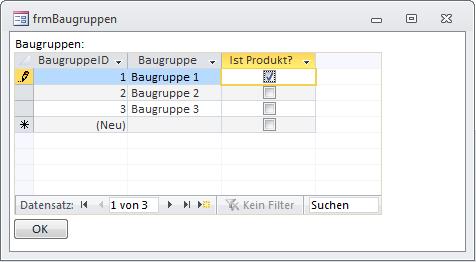 Bearbeiten von Baugruppen in der Formularansicht mit einem Unterformular in der Datenblattansicht
