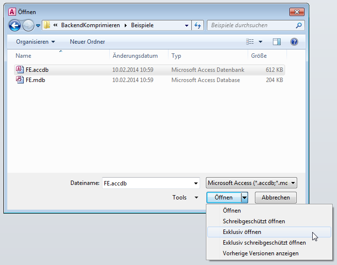 Exklusives Öffnen einer Datenbankdatei