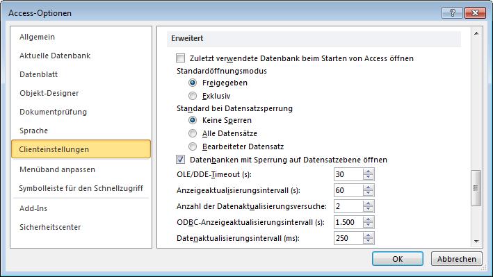 Sie können unter Access den Standardöffnungsmodus für Datenbankdateien festlegen.