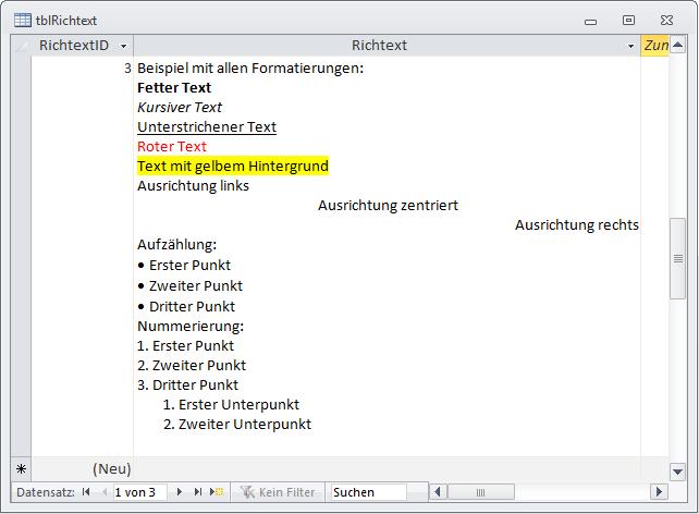 Die verschiedenen Formatierungen im Rich-Text-Format