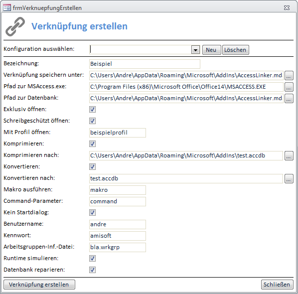 Das Add-In zum Erstellen von Access-Verknüpfungen