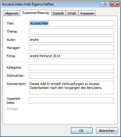 Eigenschaften der Add-In-Datenbank
