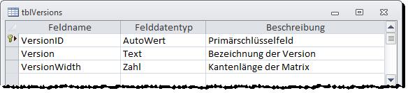 Entwurf der Tabelle tblVersions