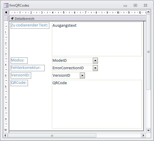 Formular zur Eingabe von Text, Mode, Fehlerkorrektur und Version
