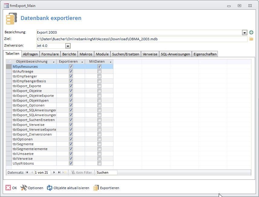 Der Export-Helfer für Access-Datenbanken