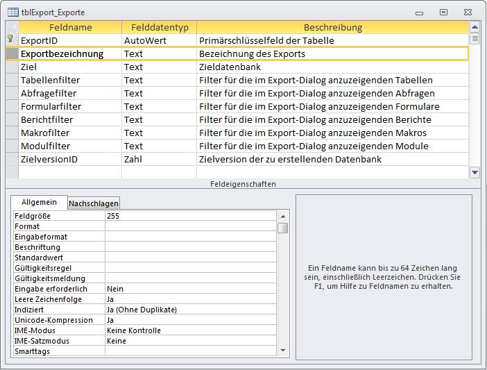 Entwurf der Tabelle zum Speichern der Konfigurationen