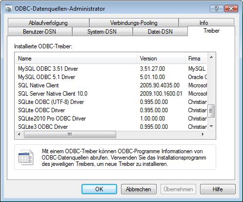 Der ODBC-Datenquellen-Administrator von Windows mit der Liste installierter Treiber