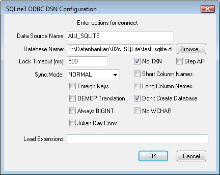 Konfiguration einer SQLite-ODBC-Verbindung (DSN)