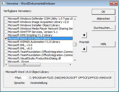 Einfügen eines Verweises auf die Word-Bibliothek