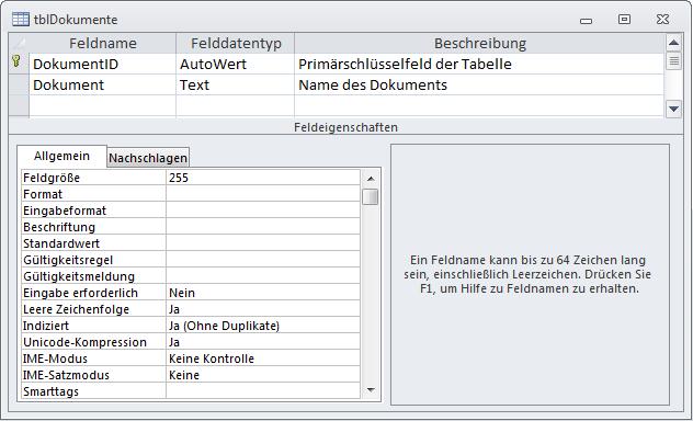 Tabelle zum Speichern der Dokumentnamen