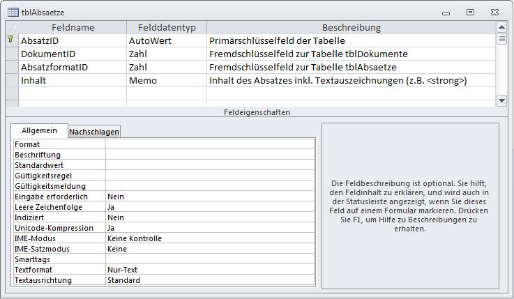 Tabelle zum Speichern der Absätze eines Dokuments