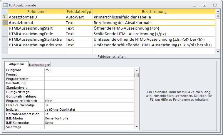 Tabelle zum Speichern der Absatzformate eines Dokuments
