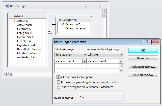 Verknüpfung zwischen Detailtabelle und Lookup-Tabelle