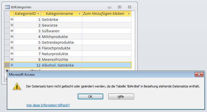 Meldung beim Versuch, einen verknüpften Datensatz aus einer Lookup-Tabelle zu löschen