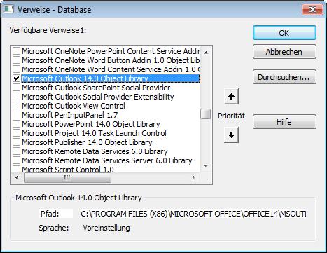 Verweis auf die Outlook-Objektbibliothek