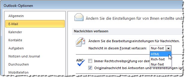 Einstellung des E-Mail-Formats in den Optionen von Outlook 2010