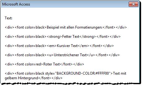 HTML-Text des Textfeld-Inhalts