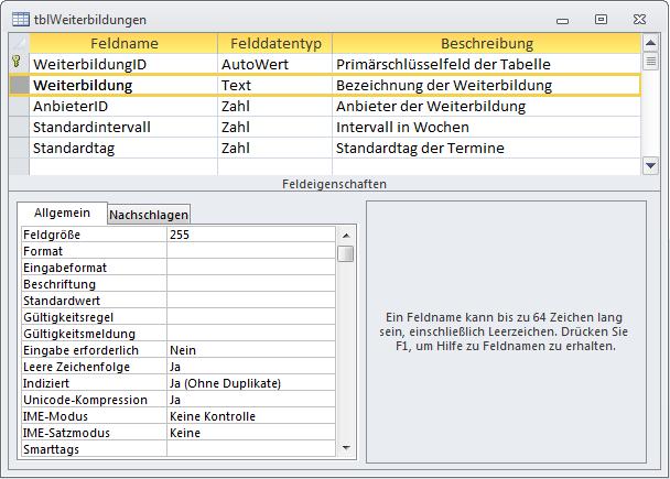 Entwurf der Tabelle tblWeiterbildungen