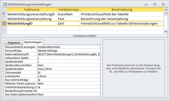 Entwurf der Tabelle tblWeiterbildungsveranstaltungen