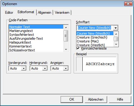 Auswahl der Schriftart für den VBA-Code im Optionen-Dialog