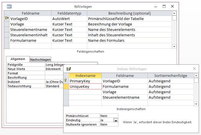 Entwurf der Tabelle tblVorlagen