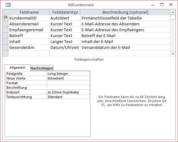 Die Tabelle tblKundenmails speichert die grundlegenden Informationen