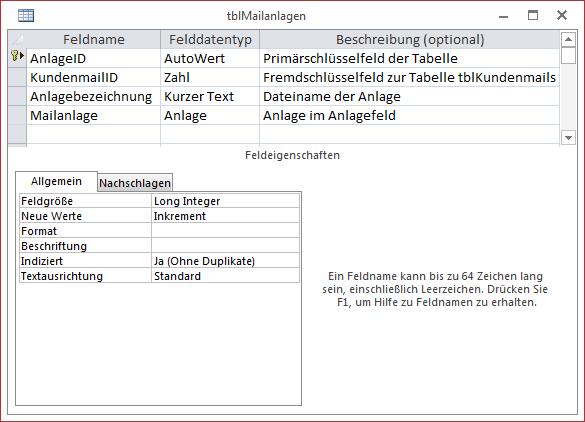 Die Tabelle tblMailanlagen speichert die Mailanlagen