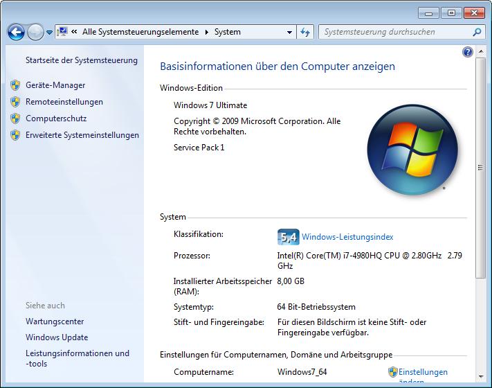 Hinweise auf Arbeitsspeicher und Betriebssystem in den Systemeinstellungen von Windows
