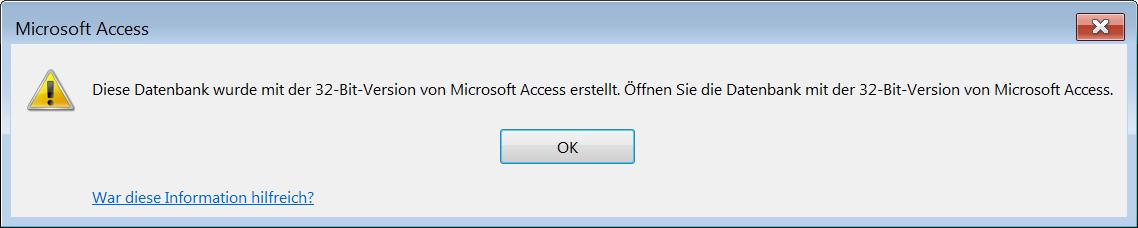 Fehler beim Öffnen einer .mde- oder .accde-Datei, die mit Access in der 32bit-Version erstellt wurde