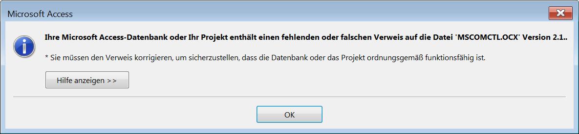 Der Verweis auf die Datei MSCOMCTL.ocx kann unter Access in der 64bit-Version nicht gefunden werden.