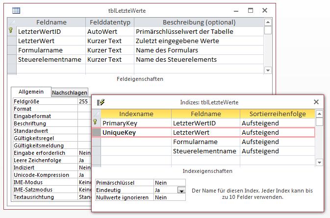 Erster Entwurf der Tabelle zum Speichern der zuletzt verwendeten Werte
