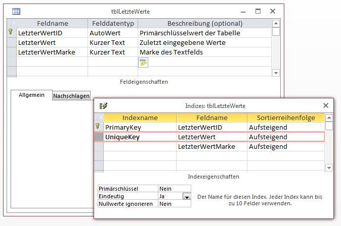 Zweiter Entwurf der Tabelle zum Speichern der zuletzt verwendeten Werte