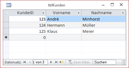 Die Tabelle tblKunden mit einigen Beispieldaten