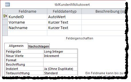 Die Tabelle tblKunden mit Autowert als Primärschlüssel