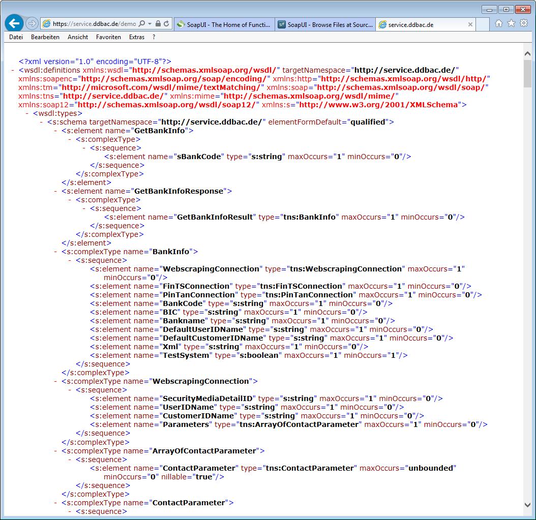 Beschreibung der Requests und Responses des Webservice