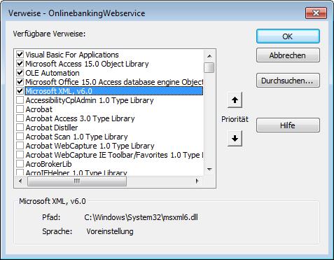 Verweis auf die XML-Bibliothek