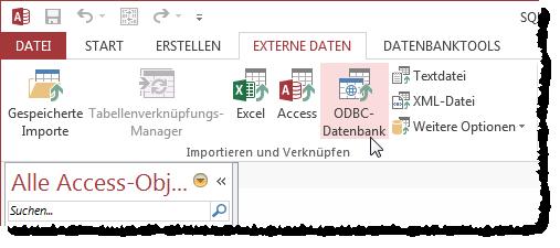 Ribbon-Eintrag für den Aufruf des Assistenten zum Verknüpfen von ODBC-Datenbanken