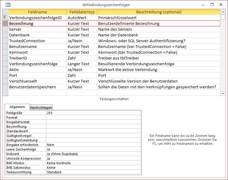 Entwurf der Tabelle tblVerbindungszeichenfolgen