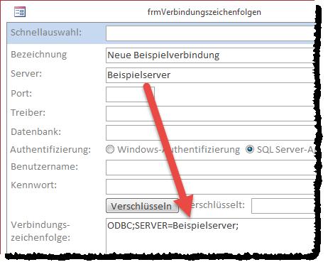 Die eingegebenen Daten erscheinen direkt in der Vorschau der Verbindungszeichenfolge.