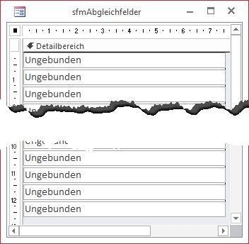 Unterformular zur Darstellung der Feldinhalte eines Datensatzes