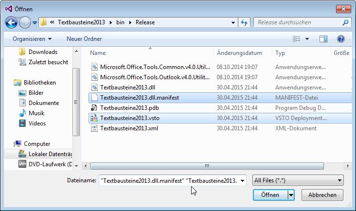 Auswahl der .vsto- und der .manifest-Datei